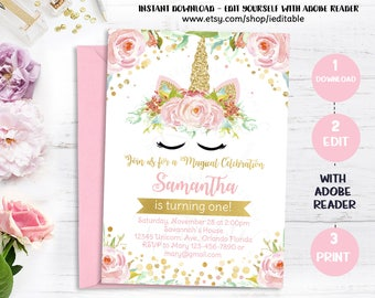 Unicorn invitation magical unicorn 1st birthday first unicorn invitation magical unicorn 1st birthday first floral pink and gold rainbow stopboris Image collections