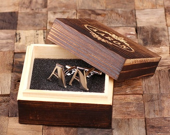 "Initial ""A"" Personalized Men's Classic Cuff Link with Wood Box Monogrammed Engraved Groomsmen, Best Man, Father's Day Gift"