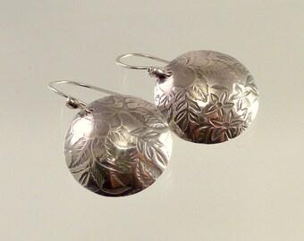 Rose Garden Sterling Dome Earrings, Sterling Silver, Handmade, Dangles