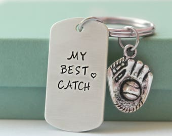Personalized Keychain - My Best Catch Custom Keychain - Hand Stamped Keychain - Personalized Keychain For Him - Baseball Lover Gift -