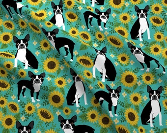 Sunflower Boston Terrier Fabric - Boston Terrier Sunflower Large By Petfriendly- Floral Dog Cotton Fabric By The Yard With Spoonflower