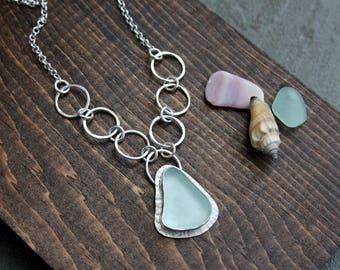Sea glass necklace, sterling silver necklace, sea foam, sea glass jewelry, statement jewelry, beach jewelry,