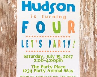 printable boy birthday invitations, digital birthday invites, blue and orange birthday party, printable boy birthday invitation