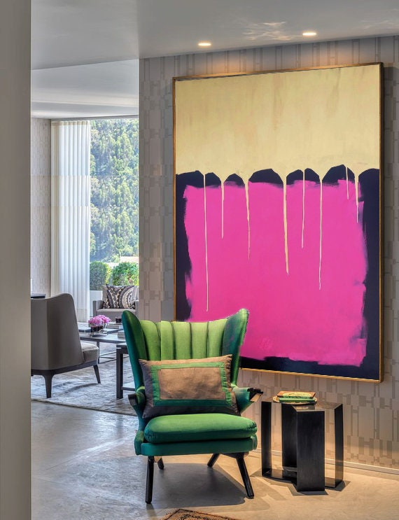 Large wall art, Large acrylic, Painting on canvas, Gold & Pink, Acrylic abstract, Wall hangings, Gold Art, Modern Art, Large art painting