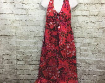 70s Maxi Halter Dress Floral