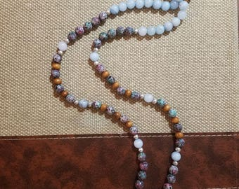 Cosmic Obsession, space cadet, Purple Fluorite Handmade Mala Beads - Clarity & Focus, meditation