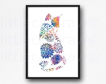 Floral Cat Print Watercolor Painting Print Cat Wall Art Floral Decor Cat Lover Gift Bedroom Wall Decor Cat Art Print Unframed