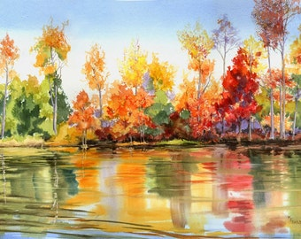 Autumn Reflections giclee print river mirroring the colorful trees