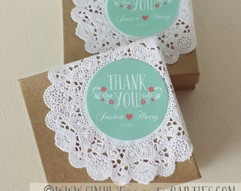 "Custom wedding favor sticker. In Color of Choice. Size 2"" Round. THANK YOU STICKER. Jessica collection in Mint and Coral. Personalized"