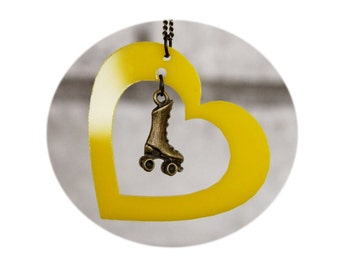 Roller Skate Necklace, Heart With Skates, Yellow, Roller Derby, Pendant, Slater, Skating, Laser Cut, Gift For Derby Wife, Love To Skate