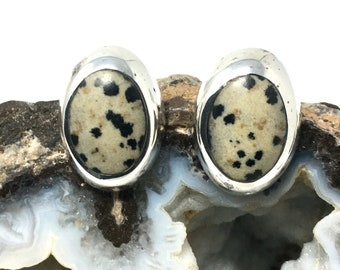 Dalmation Jasper and Sterling Silver Earrings