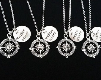 Set of FOUR necklaces, 4 best friends, no matter where charm, compass necklace, college moving, Christmas gift, bff necklace friendship gift