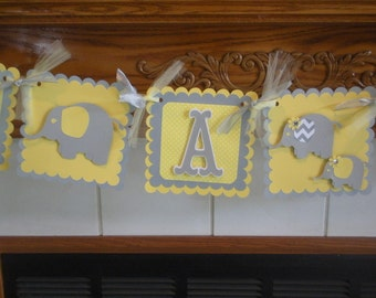 It's A Girl Elephant Family Baby Banner, Gender Reveal Baby Banner, yellow, gray chevron elephant banner, Welcome Baby Banner