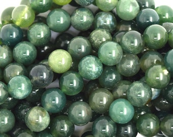 """6mm green moss agate round beads 15"""" strand 36568"""