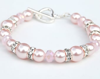 Pale Pink Pearl Bracelet, Love Gift, Pink Wedding, Romantic Gift, Pearl Jewelry, Pink Bridesmaid Jewelry
