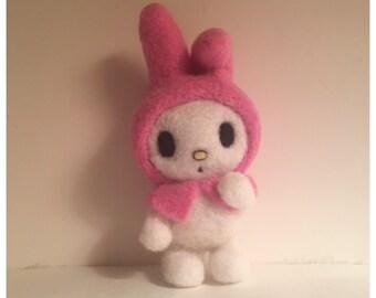 Meine Melodie weiche Skulptur Figur Kawaii Sanrio hallo Kitty Freund Nadel gefilzt Filz-Hase mit Rosa Kapuze Twin Stars Freund Osterhase