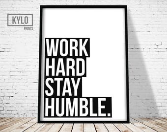 Office Decor, Work Hard Stay Humble, Office Wall Art, Typography Print, Printable Art, Wall Art, Office Print, Digital Print, Home Decor