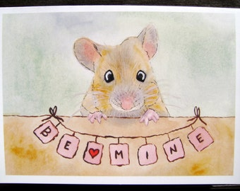 "Valentine's Day card, Be Mine, envelope, made in USA, love, watercolor, mouse, animals, green, red, orange, 5"" x 7"" (12.7 cm x 17.8 cm)"