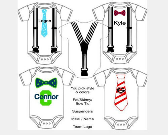 33b029bb3 Baby Boy Custom Made Personalized Gerber Onesie with Tie