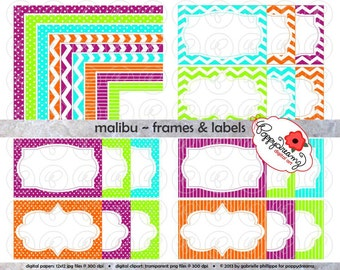 Malibu Frames & Labels: Clip Art Pack Card Making Digital Frames Page Borders Chevron Dots Stripes