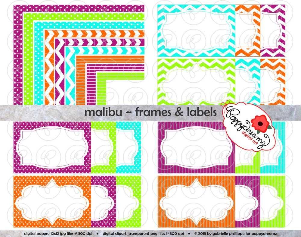 Malibu Frames & Etiketten: Clip Art Pack Karte machen digitale