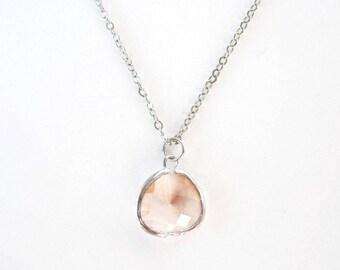 Peach glass bridesmaids necklace Silver glass drop necklace Blush glass necklace Champagne necklace Peach bridesmaids blush bridesmaid
