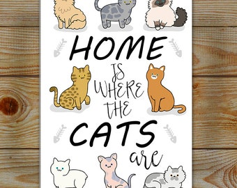 Cat lover sign, lightweight Aluminium wall Art | Home is Where The Cats Are, a variety of cats, for the cat person
