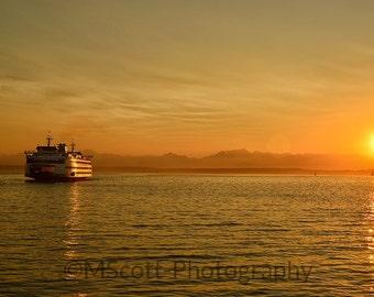 Seattle Ferry Photograph   Seattle Art   Landscape Photography   Pacific Northwest Art   Puget Sound   Large Format Wall Art   Home Decor