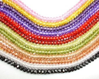 CZ bead, Cubic Zirconia Beads, Faceted Rondelle, Approx  3.5 x 6 mm, 6 Inch, 1 strand, Approx 40-42 beads,Hole 0.8 mm, A Grade (RON0606)