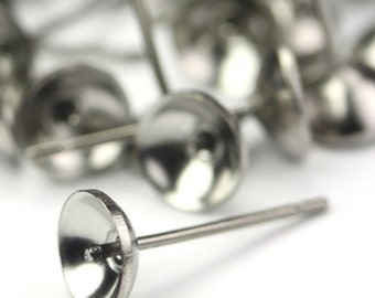 Earring Findings Surgical Steel Post 6mm Cup and Peg (50) FI659