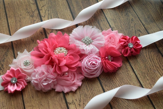 Sash, think pink  Sash,  flower Belt, maternity sash, wedding sash, flower girl sash, maternity sash belt