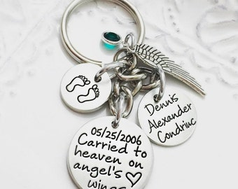 Carried to Heaven on Angel's Wings Custom Aluminum Loss Memorial Remembrance Miscarriage Key Chain - Engraved Jewelry