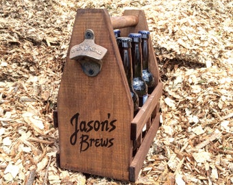 Men's Personalized Wooden 6 Pack Beer Caddy