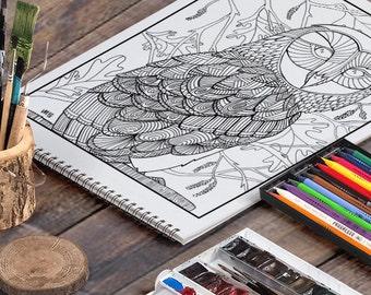 BARN OWL: A Printable Adult Coloring Page