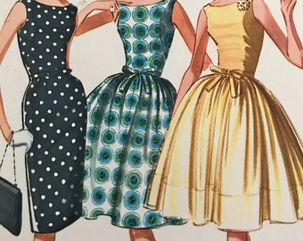 Vintage Full-Skirted Party Dress with Sheer Overskirt---McCalls 6755---Size 10  Bust 31  UNCUT