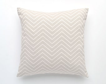 "Chevron Pillow Cover- 20"" x 20"" - Light Gray and White Chevron, - Chevron Throw Pillow, Decorative Pillow Cover, 20"" x 20"""