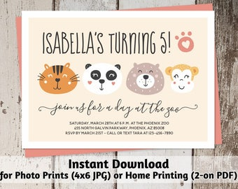 Printable Zoo Invitation - Girl Zoo Birthday Party Template - Instant Download Digital Files > Photo Prints & Card Stock - Cute Animal Faces