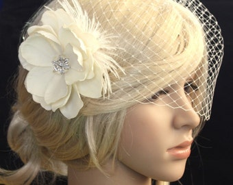 Ready to ship. Ivory Birdcage Veil - 2 items