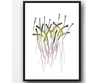 Watercolor painting green Sprouts watercolor print green & lavender Modern minimalist kitchen decor Wall hanging
