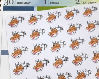 Fish and chips stickers, planner stickers, British food stickers, kawaii stickers, take away stickers, takeout stickers, junk food stickers