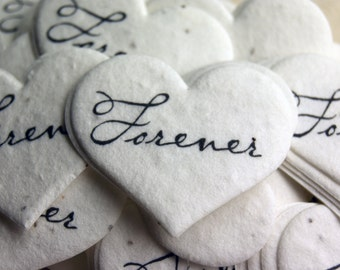 """Forever Seed Paper Hearts 1.75"""" x 1.5"""" Wildflower Printed for Weddings or Events"""