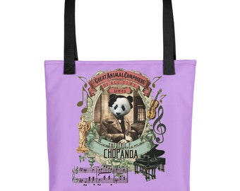 Cute panda Chopin classical music tote bag