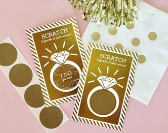 Pink and Gold Bridal Shower Games Bridal Scratch Off Bridal Shower Scratch Off Cards Bridal Shower Ideas GOLD FOIL (EB3119FW)- 16 cards