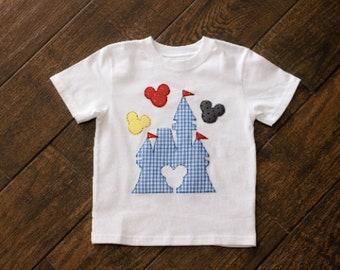 Disney Castle Shirt and Blue Gingham Shorts Set