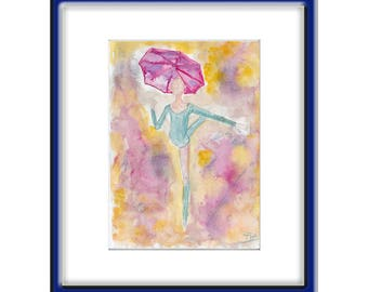 ORIGINAL   Abstract Watercolor  Painting  BALLET  Contemporary  Art   Modern  People