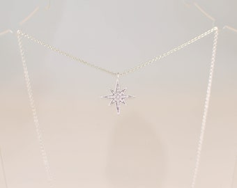Dainty Star Necklace Cubic Zirconia Pave Set Rhodium Silver Plated CZ 16 Inch Chain Extender Gift under 20 Minimal Simple Jewellery