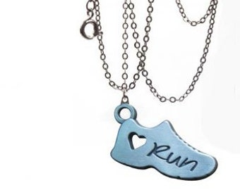 Running necklace - running jewelry - Gifts for runners  - Heart run graphic