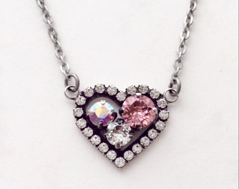Swarovski Crystal -  Designer Inspired - Heart Pendant Necklace - Beautiful Radiant Pink, Aurora Borealis, & Clear Crystal