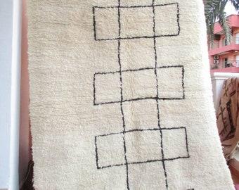 Gorgeous beni ourain rug, 30% Off abstract rug, Moroccan carpet tribal rug, boho rug, scandinavian rug, made artistic weaver minimalist rug