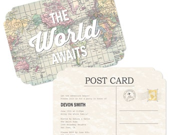 World Awaits Travel Themed Invitations - Personalized Graduation, Retirement, Birthday and Prom Party Supplies - Set of 12